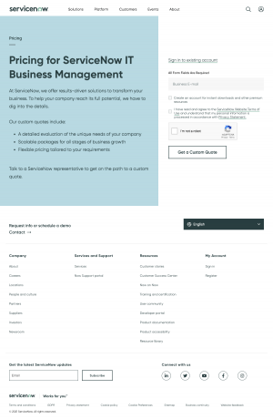 ServiceNow – Pricing page