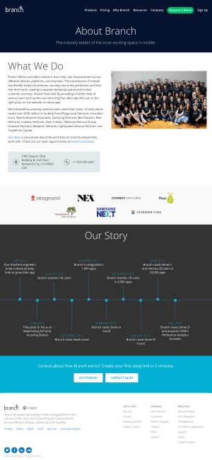 Branch – About Us page