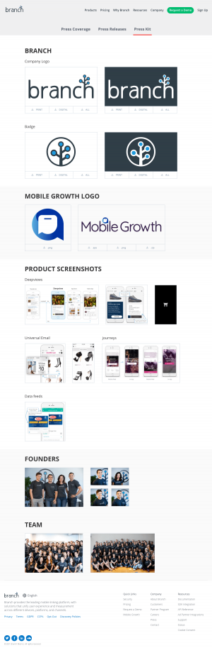 Branch – Brand assets page