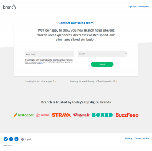 Branch – Contact page