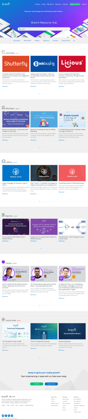 Branch – Resources page