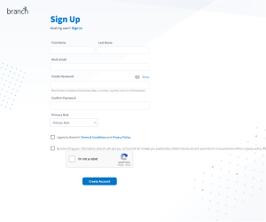 Branch – Sign up page