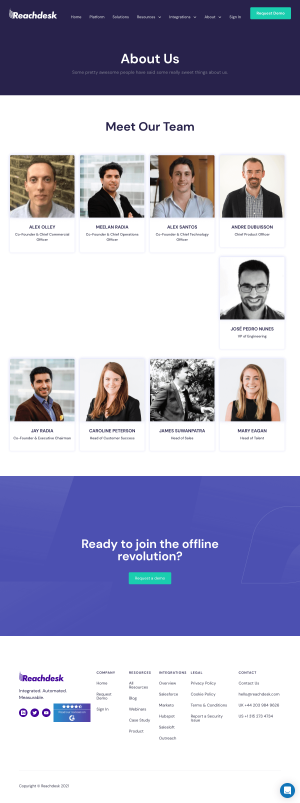 Reachdesk – About Us page