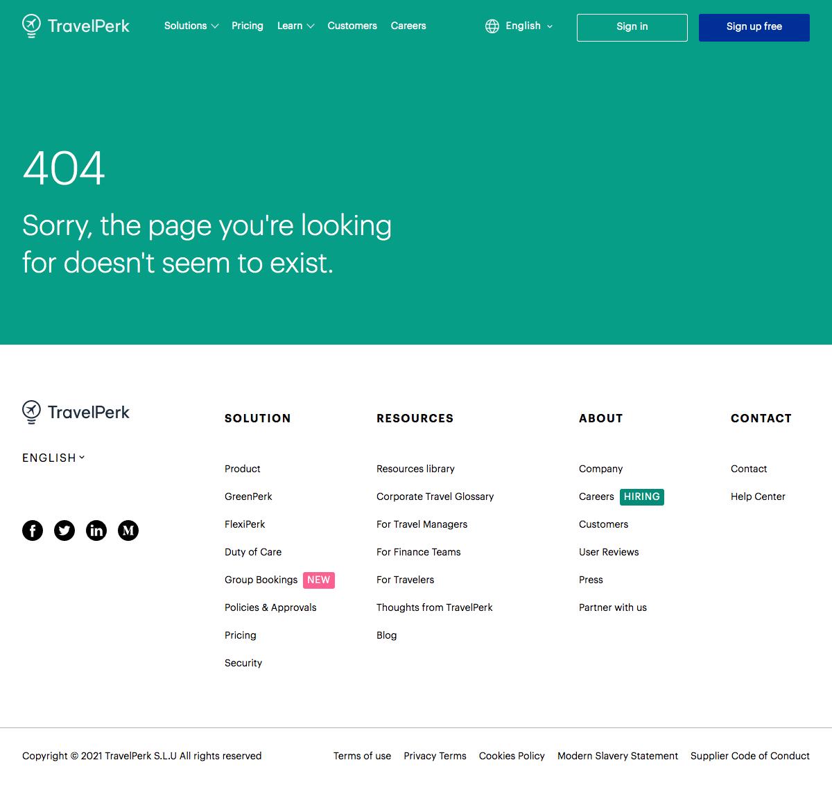TravelPerk – 404 Error page