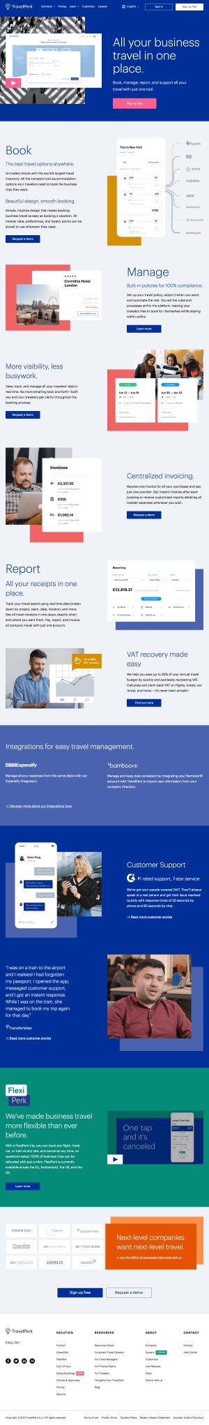 TravelPerk – Features page