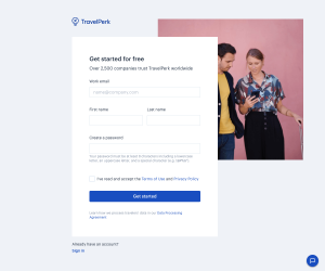 TravelPerk – Sign up page