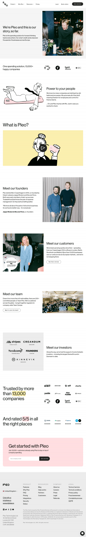 Pleo – About Us page
