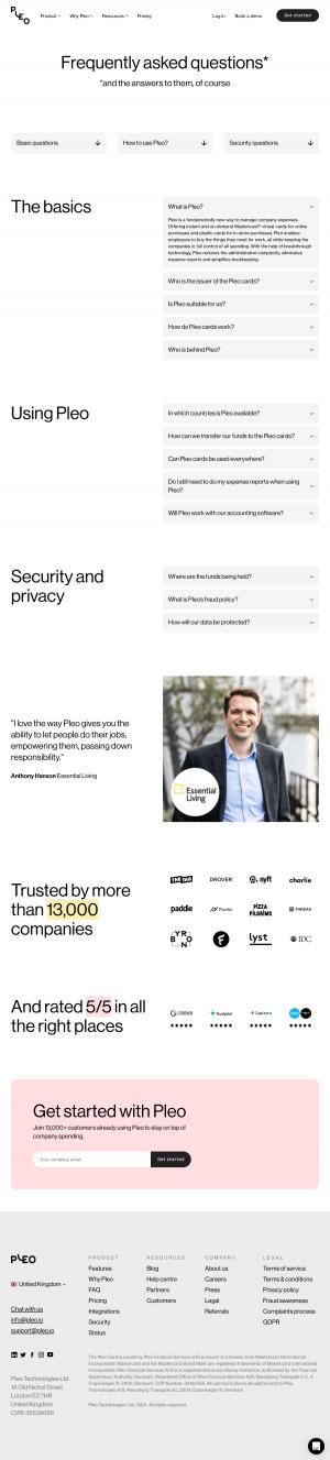 Pleo – FAQs page