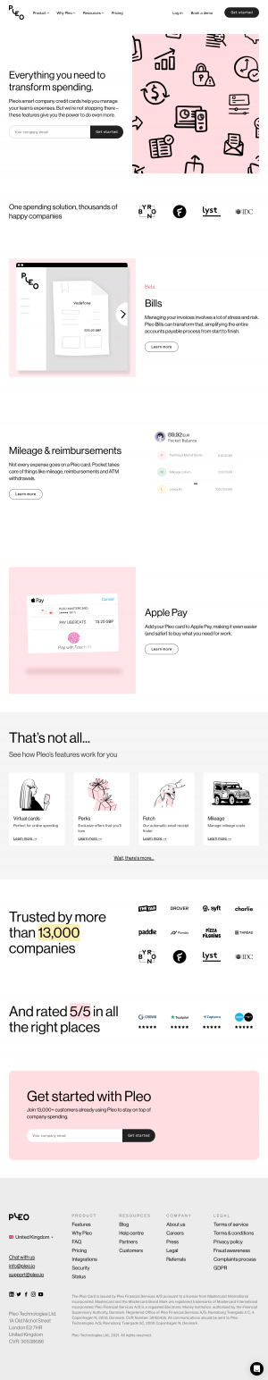 Pleo – Features page