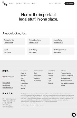 Pleo – Legal page