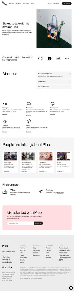 Pleo – Media kit page