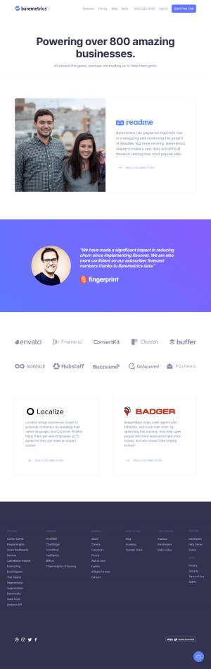 Baremetrics – Customers page