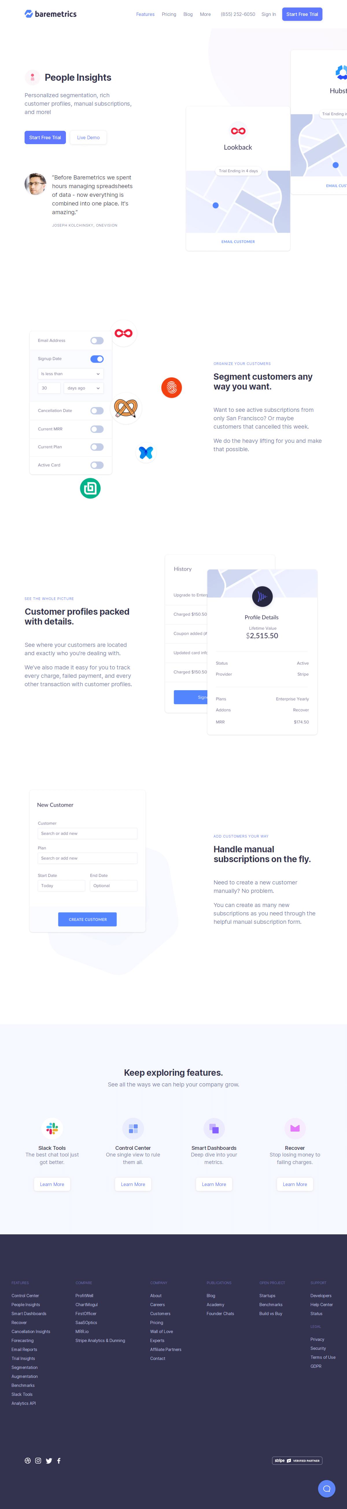 Baremetrics – Features page 1