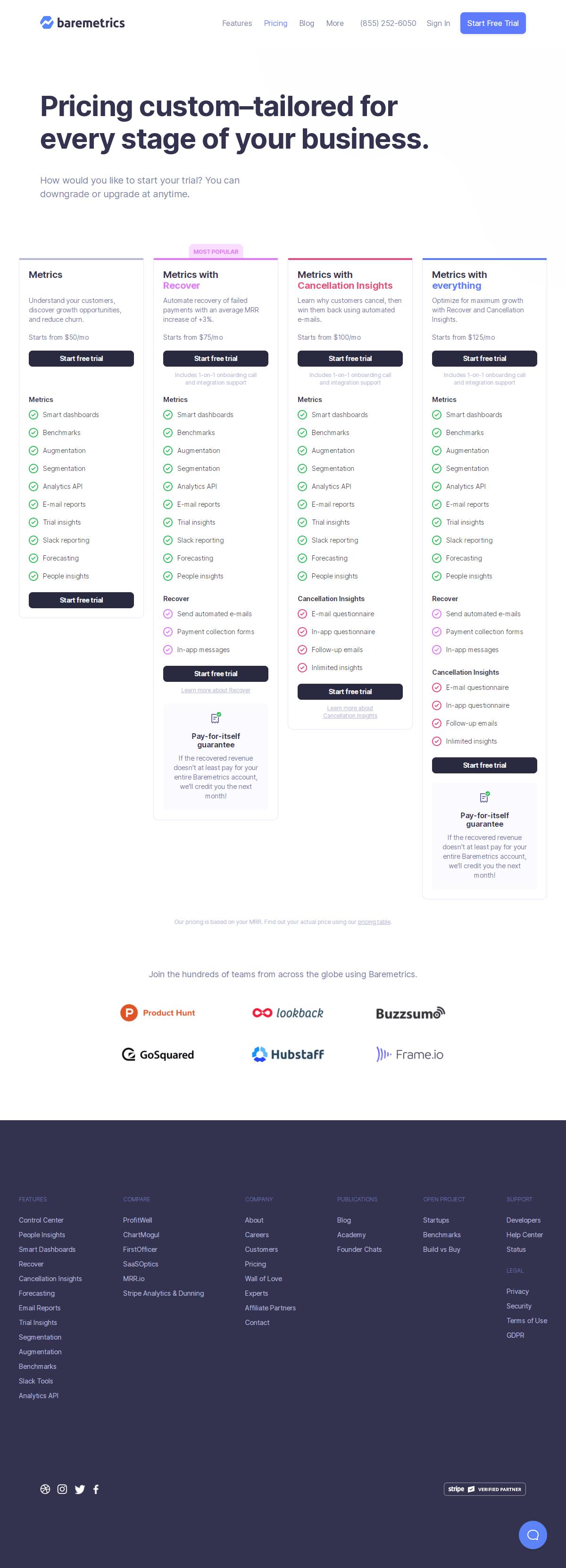 Baremetrics – Pricing page