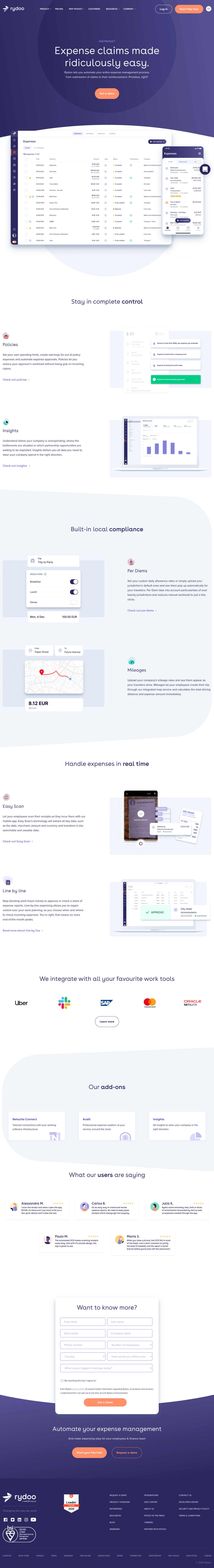 Rydoo – Features page