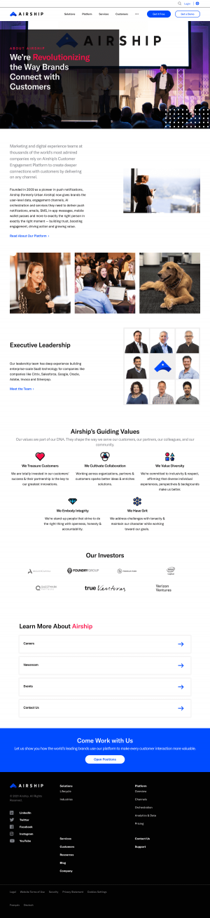 Airship – About Us page