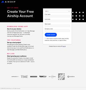 Airship – Signup page