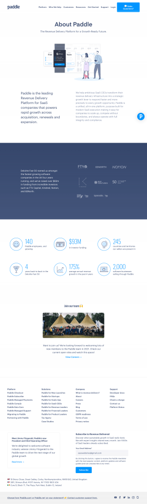 Paddle – About Us page