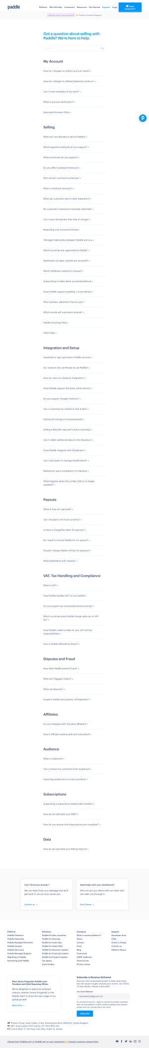 Paddle – FAQs page