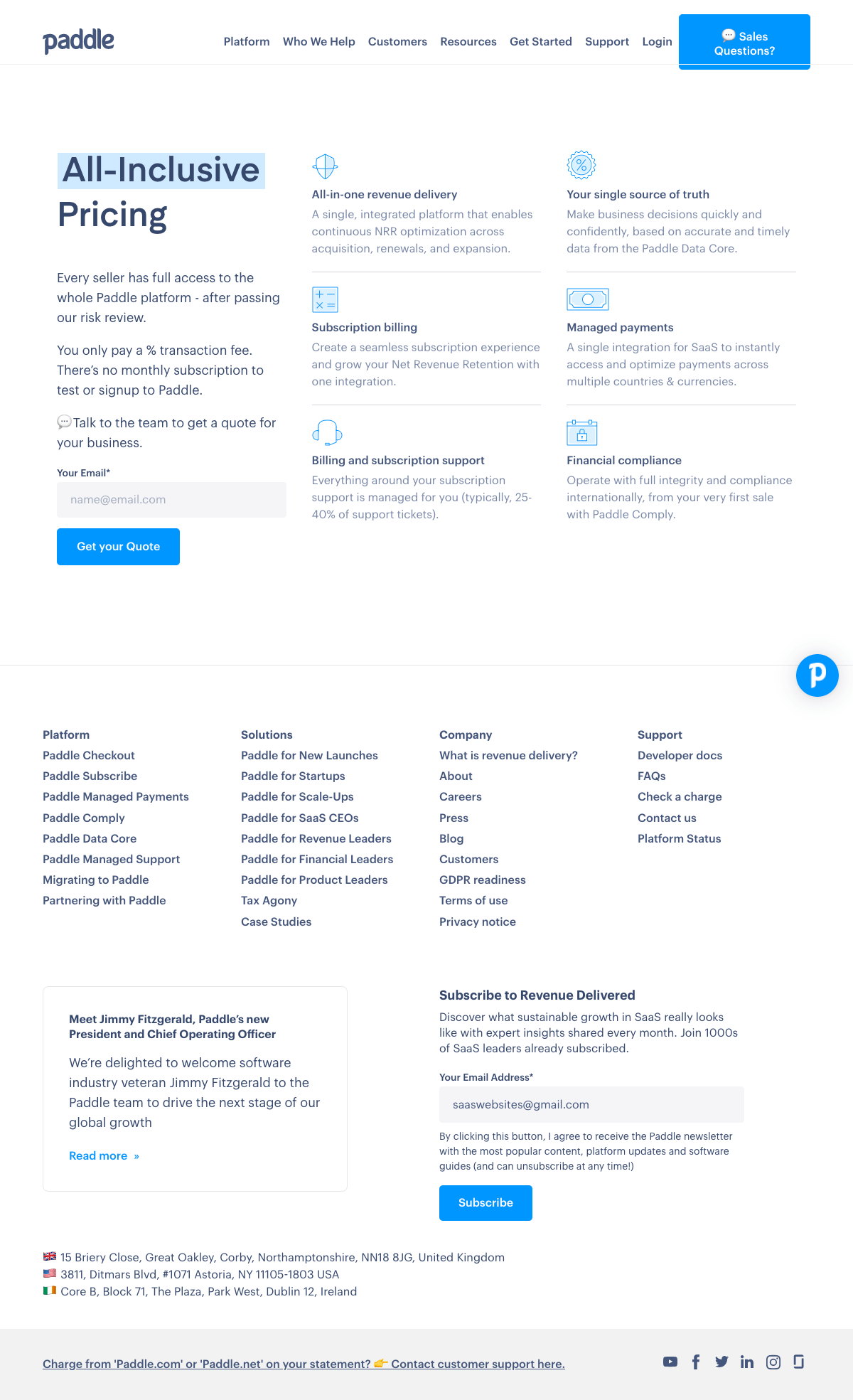 Paddle – Pricing page