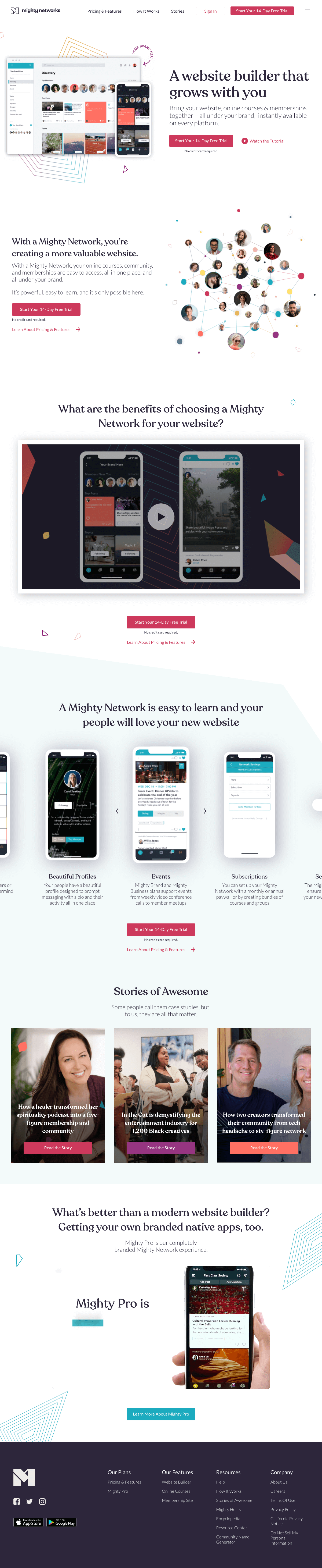 Mighty Networks – Features page