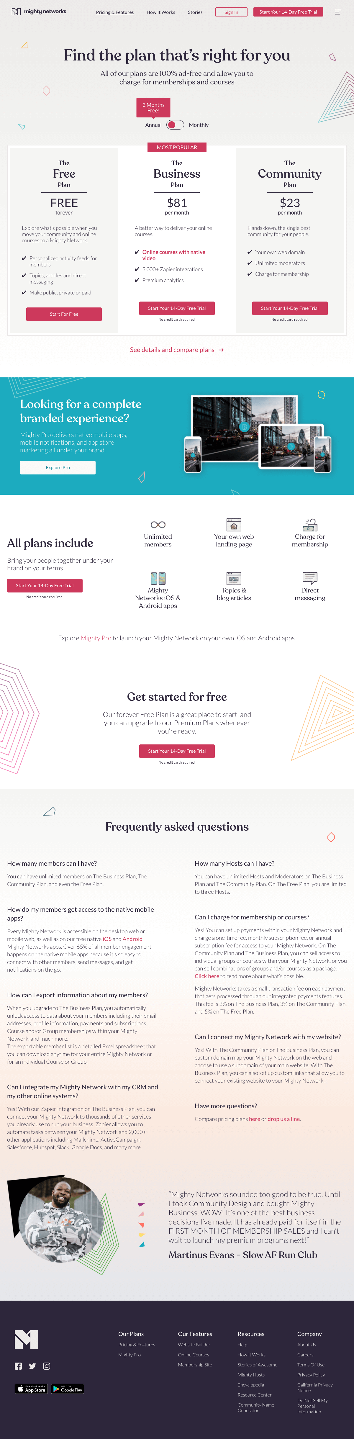 Mighty Networks – Pricing page