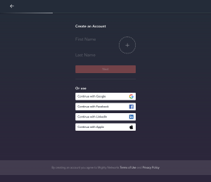 Mighty Networks – Signup page