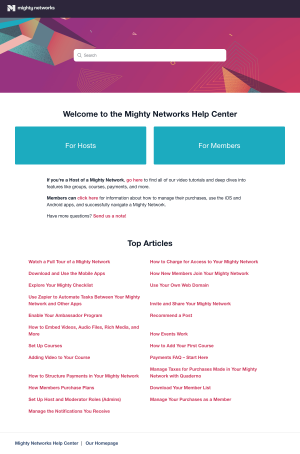 Mighty Networks – Support page