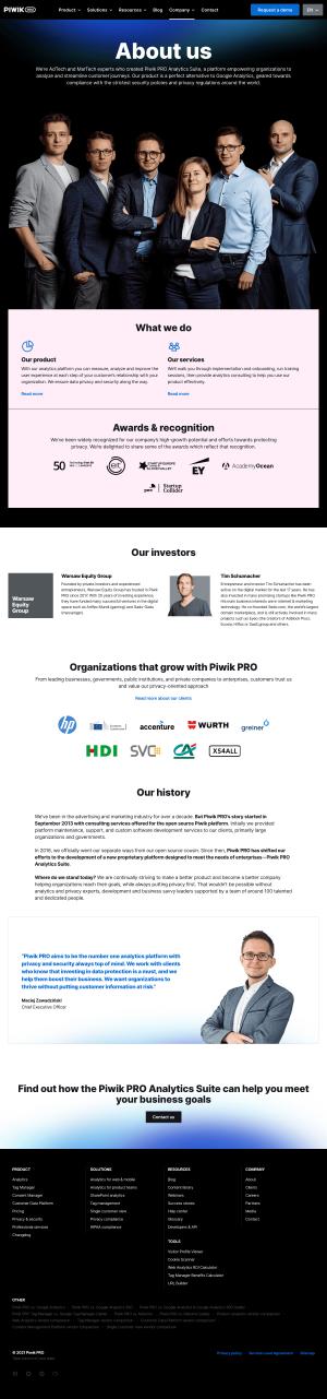 Piwik PRO – About Us page