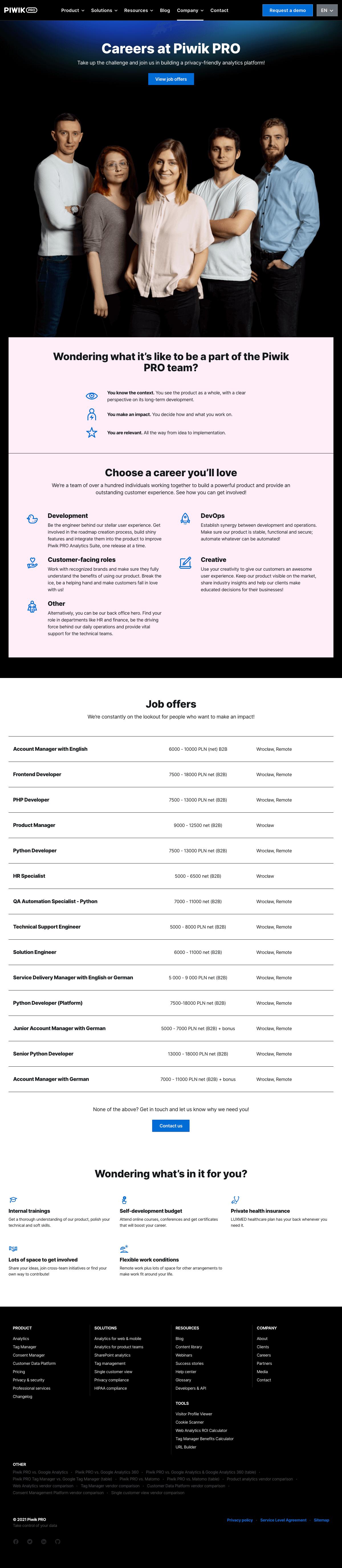 Piwik PRO – Careers page