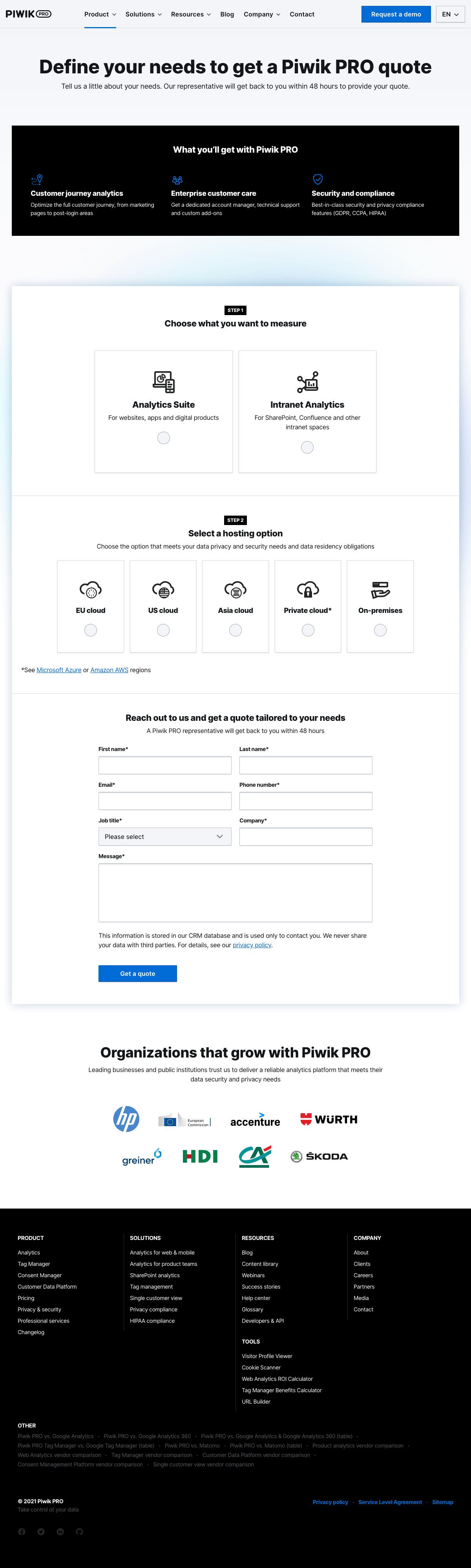 Piwik PRO – Pricing page