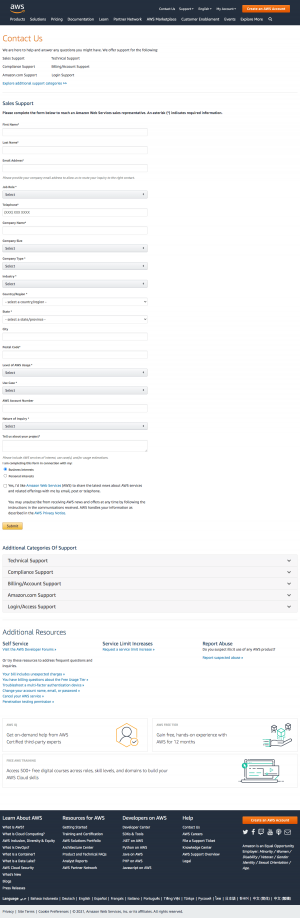 AWS – Contact page