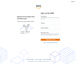 AWS – Sign up page