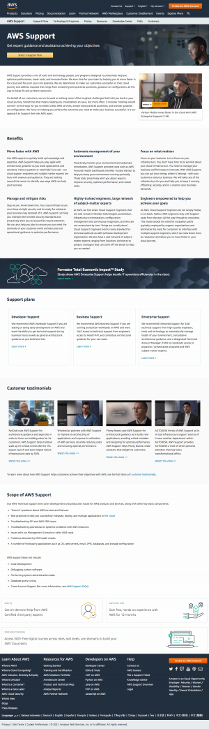 AWS – Support page