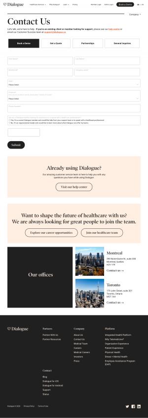 Dialogue – Contact page