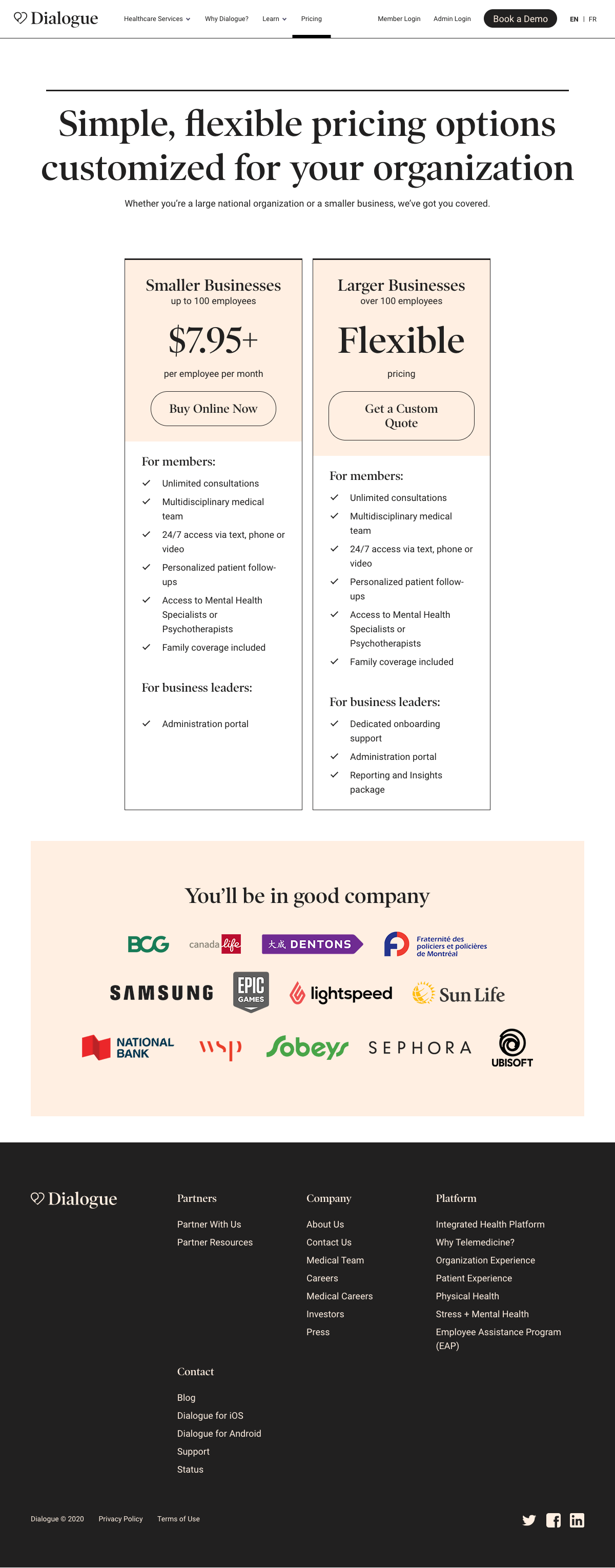 Dialogue – Pricing page