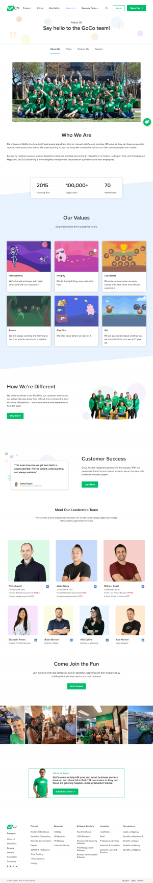 Goco – About Us page