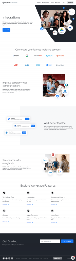 Workplace – Integrations page