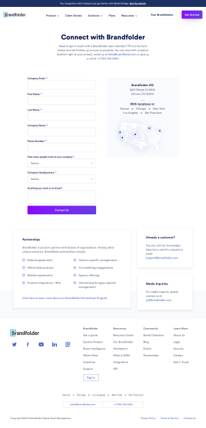 Brandfolder – Contact page