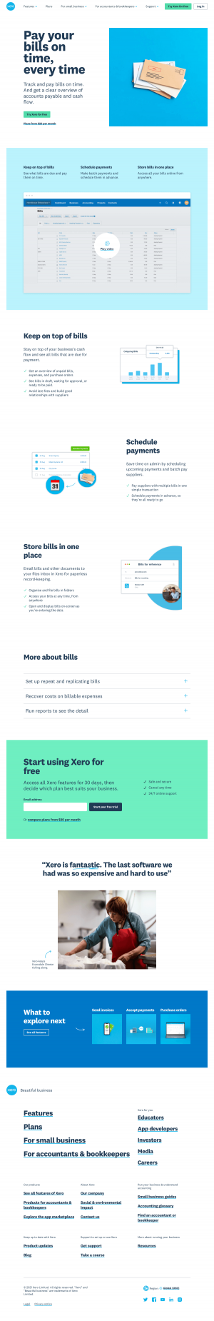 Xero – Features page 1