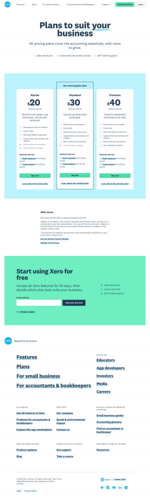 Xero – Pricing page