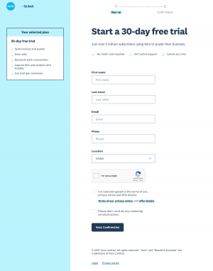 Xero – Signup page