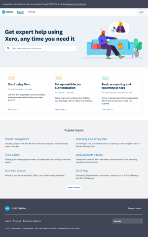 Xero – Support page