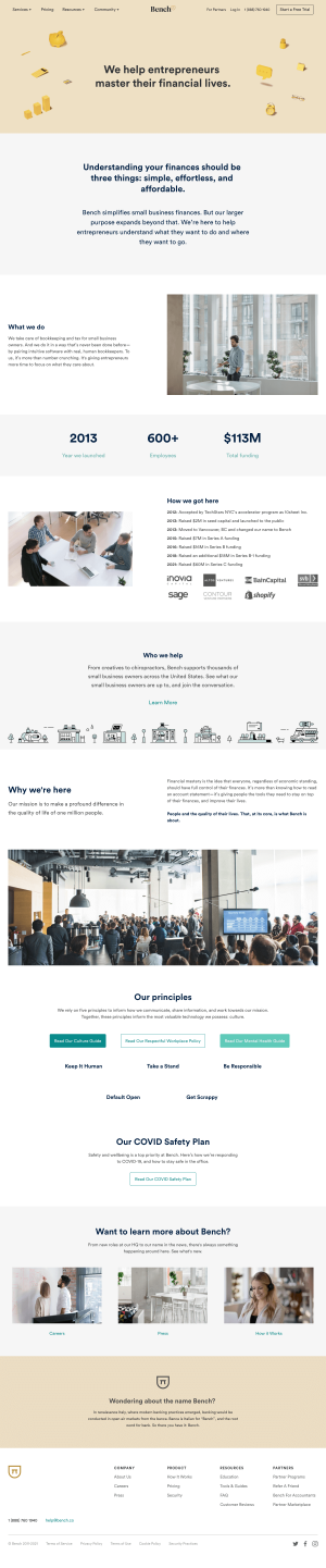 Bench – About Us page