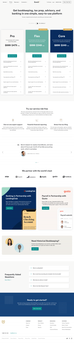 Bench – Pricing page