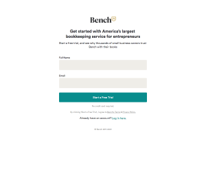 Bench – Signup page