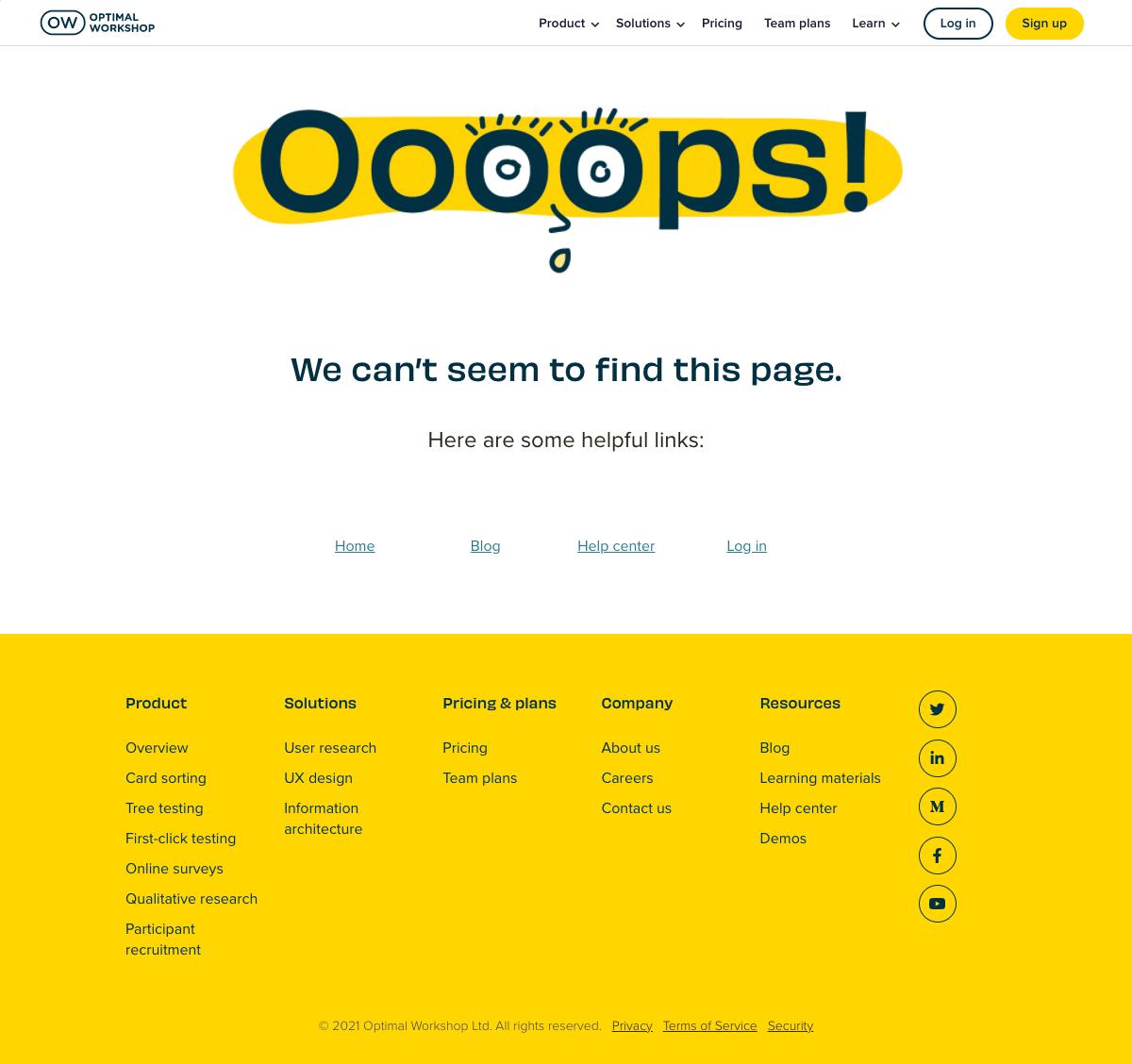 Optimal Workshop – 404 Error page