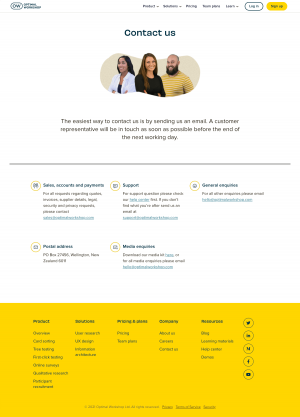 Optimal Workshop – Contact page