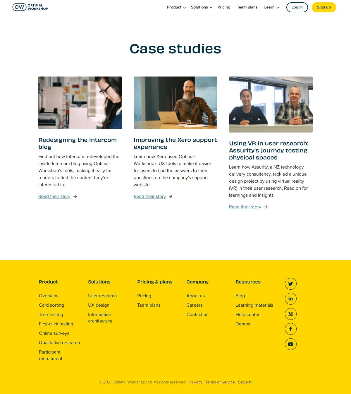 Optimal Workshop – Customers page