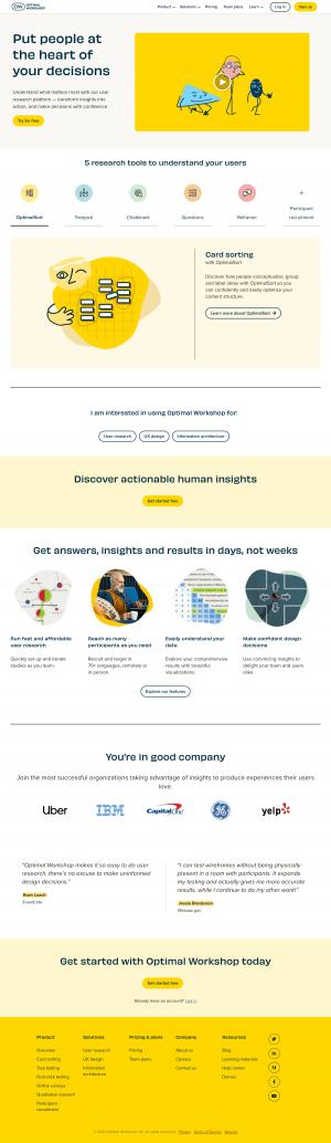 Optimal Workshop – Homepage